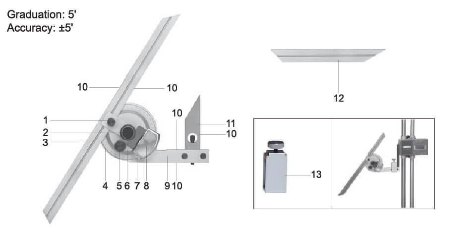 Cấu tạo của thước đo góc đa năng 2372