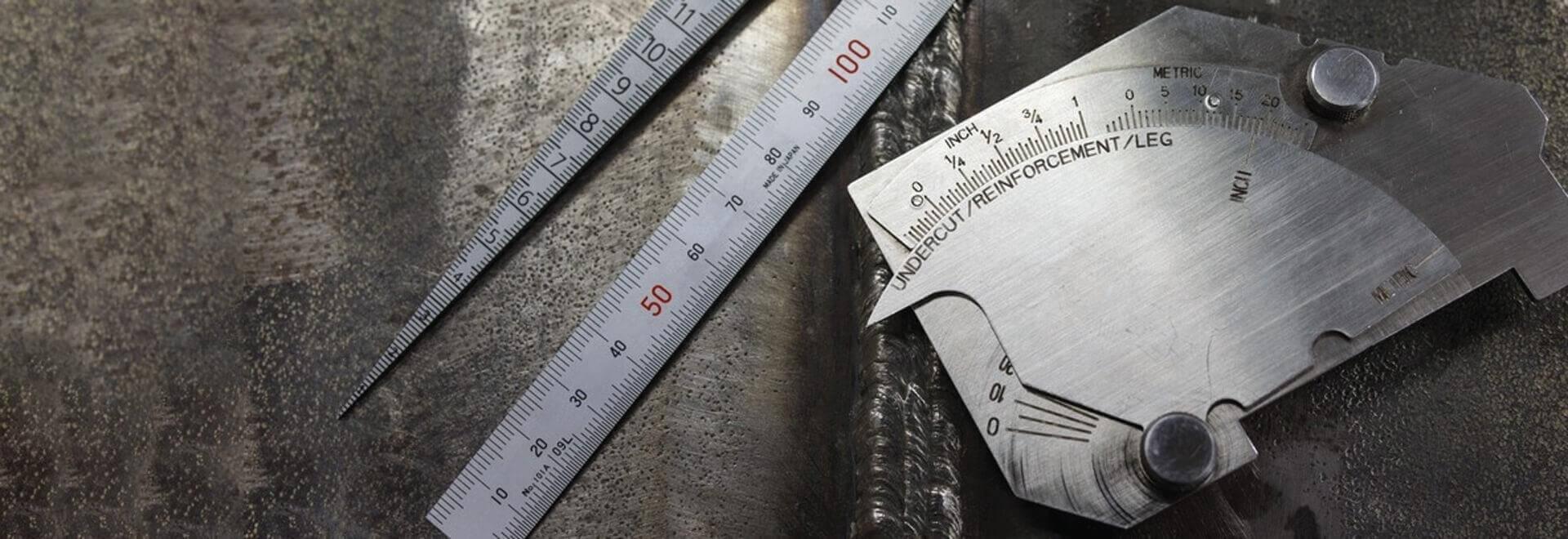 Thước lá, thước dây, compa, đo mối hàn