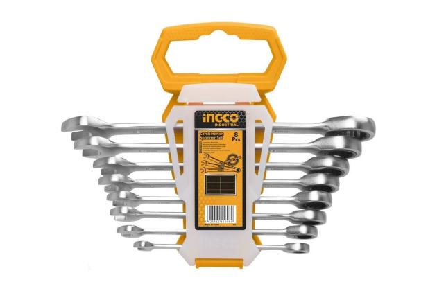 Bộ 8 Cờ lê vòng miệng hai chiều (8-19 mm) INGCO HKSPAR1082