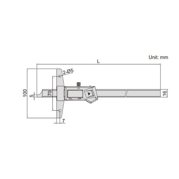 Thước đo sâu điện tử có thể gắn thêm đế dài Insize 1147_2