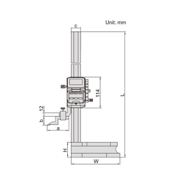 Thước đo cao điển tử có tay quay Insize 1156_2