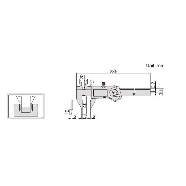 Thước kẹp điện tử mỏ nhọn dài Insize (Không chống nước) 1169_2