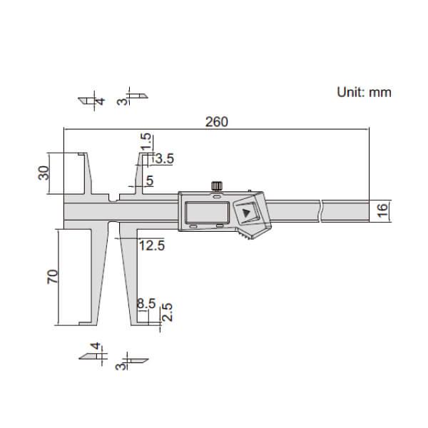 Thước kẹp điện tử đo rãnh Insize (Không chống nước) 1176_2