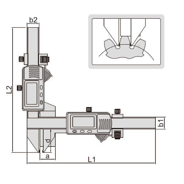 Thước kẹp điện tử đo bánh răng Insize (Không chống nước) 1181_2