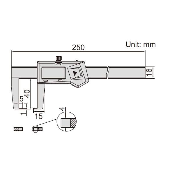 Thước kẹp điện tử đo biên dạng ngoài hẹp Insize (Không chống nước)_2