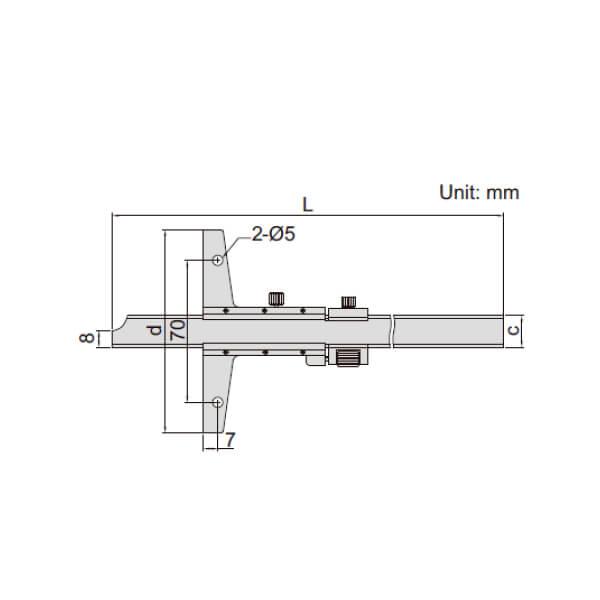 Thước đo sâu cơ khí có vít tinh chỉnh Insize 1249_2
