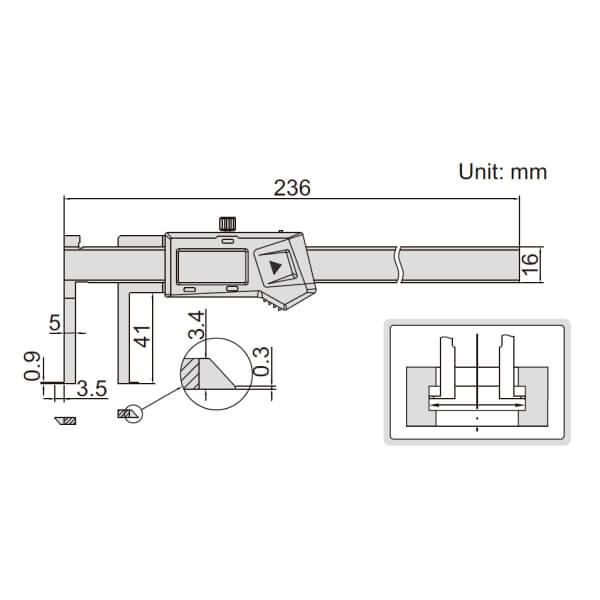 Thước kẹp điện tử đo rãnh Insize (Không chống nước) 1520_2