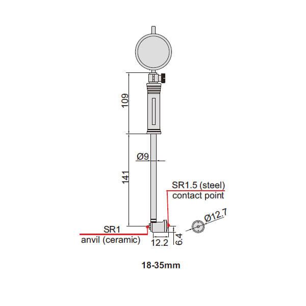 Đồng hồ đo lỗ cơ khí Insize 2322_3
