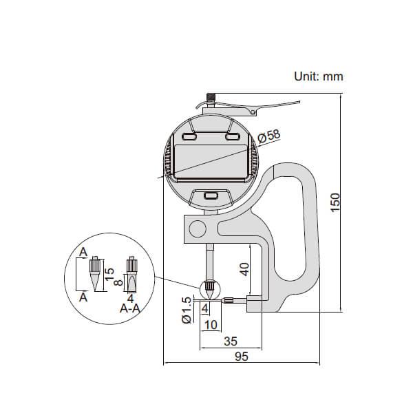 Đồng hồ điện tử đo độ dày ống Insize 2873_2