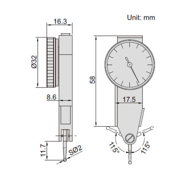 Đồng hồ so chân gập loại đo được hai bên  Insize 2898_2