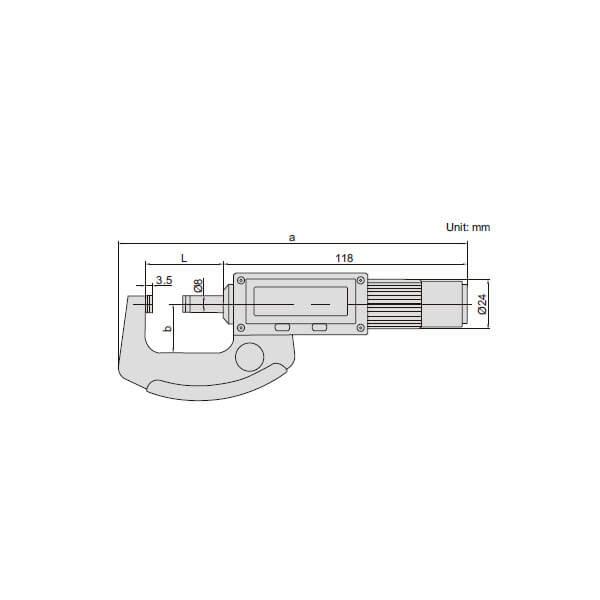 Panme điện tử với trục không quay Insize 3661_3