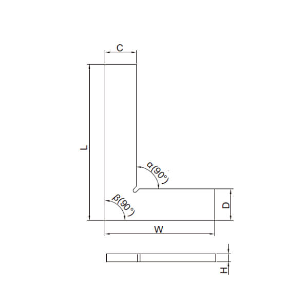 Thước đo góc vuông mỏng Insize 4791_3