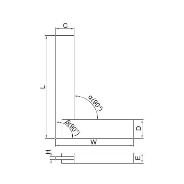 Thước đo góc vuông mỏng với đế rộng Insize 4792_3