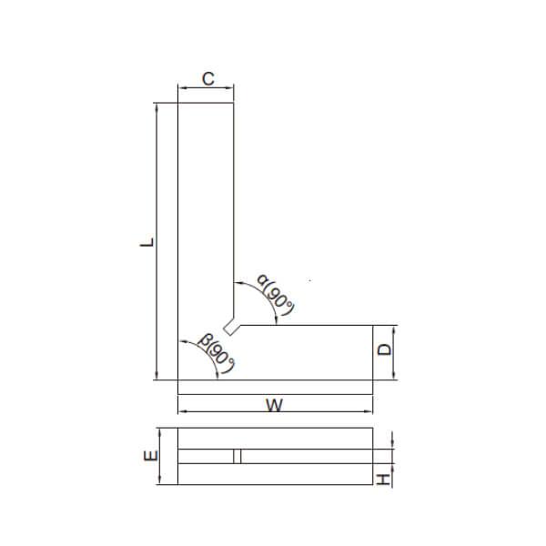 Thước đo góc vuông mỏng với đế rộng Insize 4793_3