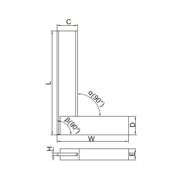 Thước đo góc vuông vát cạnh với đế rộng Insize 4795_3
