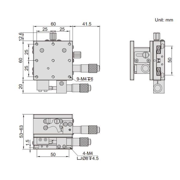 Đế chỉnh trục XZ Insize 6587_2