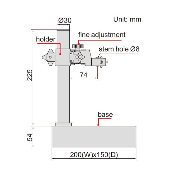 Đế gá đồng hồ so cơ khí mặt đá granit Insize 6866_2