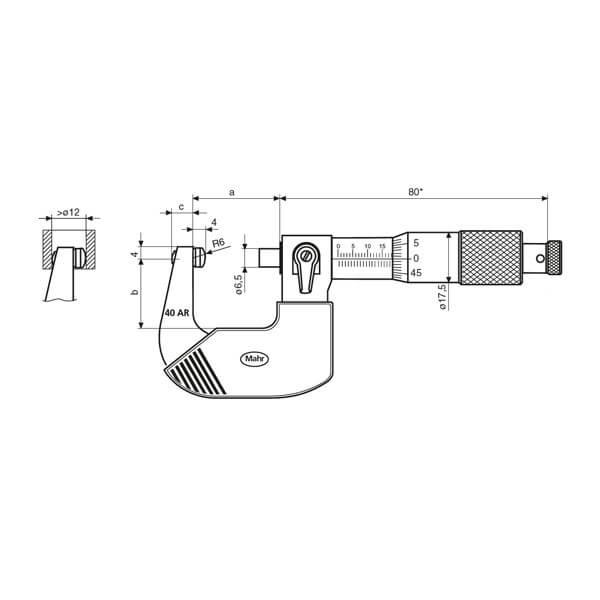 Panme cơ khí Micromar (hệ inch) 40 AR_3