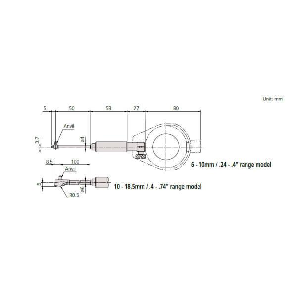 Đồng hồ đo lỗ cho lỗ nhỏ Mitutoyo Series 511_2
