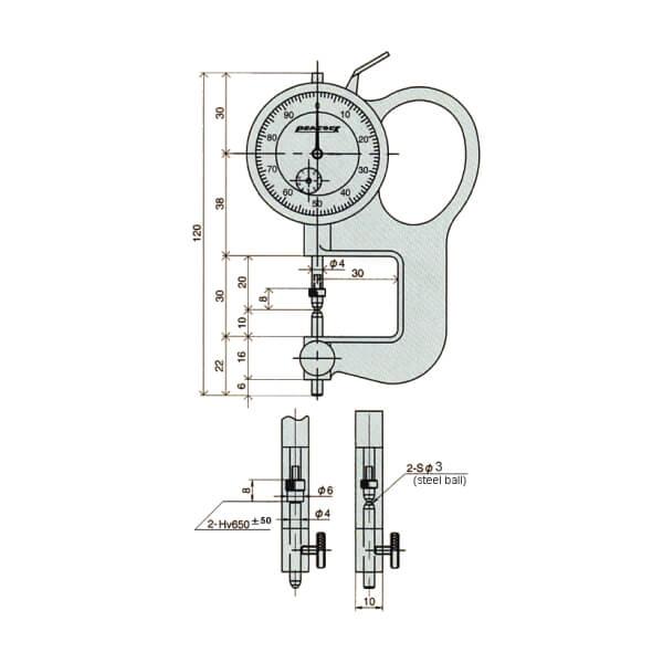 Đồng hồ đo độ dày thấu kính Peacock_2