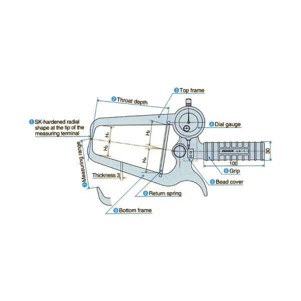 Ngàm đo kích thước loại đồng hồ Peacock LA_3