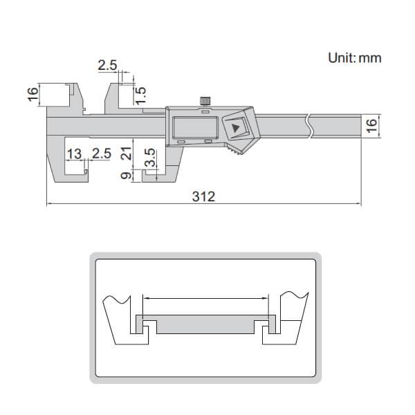 Thước kẹp điện tử đo rãnh trong Insize 1128