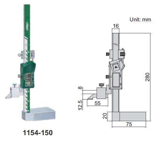 Thước đo cao điện tử (không chống nước) Insize 1154