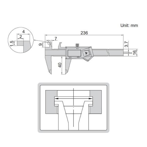 Thước kẹp điện tử đo rãnh trong Insize 1191