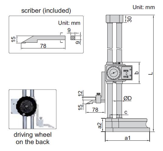 Thước đo cao đồng hồ Insize 1351 w-50