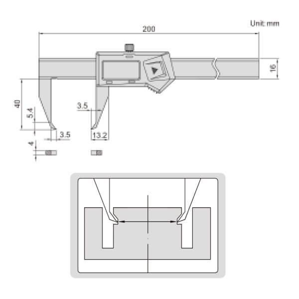 Thước kẹp điện tử đo rãnh ngoài Insize 1535-100
