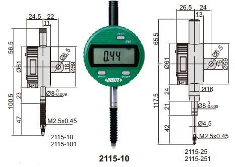 Đồng hồ so điện tử chống nước Insize 2115
