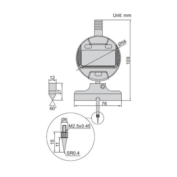 Đồng hồ đo độ sâu với đế dạng lưỡi dao 60° Insize 2143-101