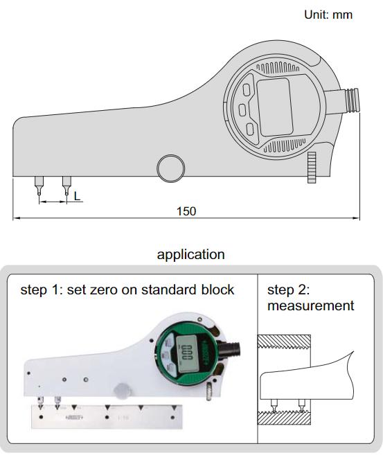 Đồng hồ đo bước ren điện tử Insize 2245-4