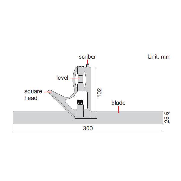 Bộ thước đo góc Insize 2276-300 (loại phổ thông)
