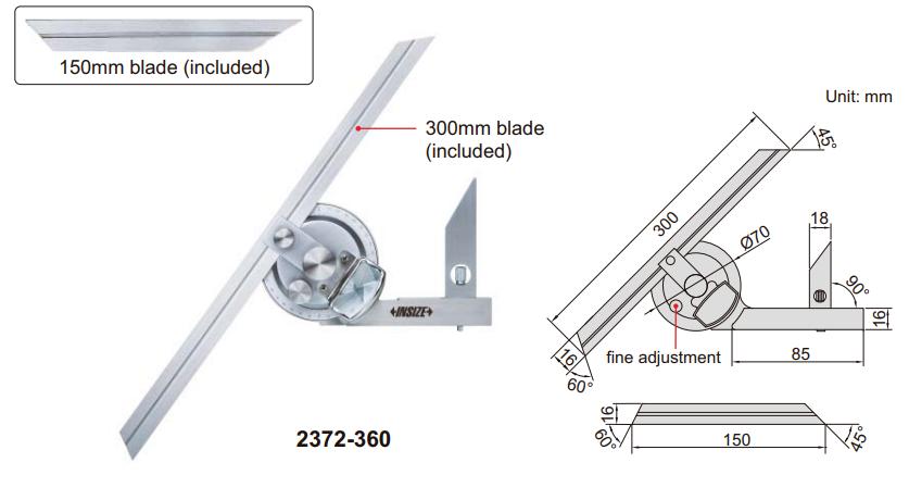 Thước đo góc vạn năng Insize 2372