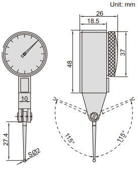 Đồng hồ so chân gập đầu đo dài Insize 2383