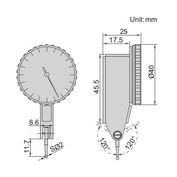 Đồng hồ so chân gập Insize 2880-02