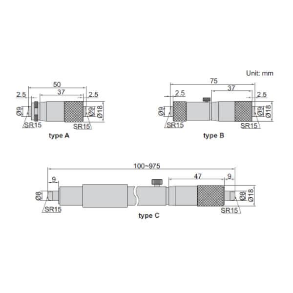 Thước panme đo trong cơ khí dạng ống Insize 3229