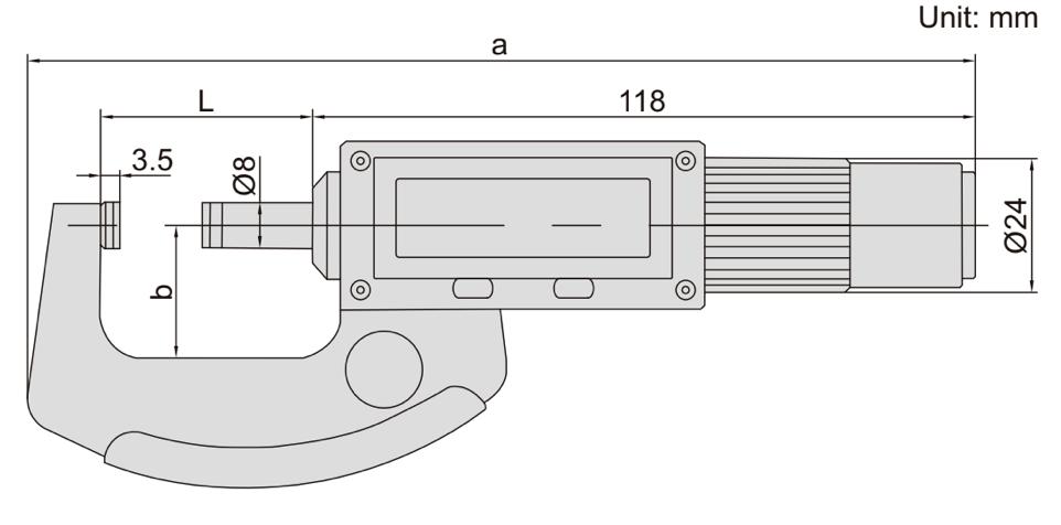 Panme điện tử với trục không quay Insize 3661