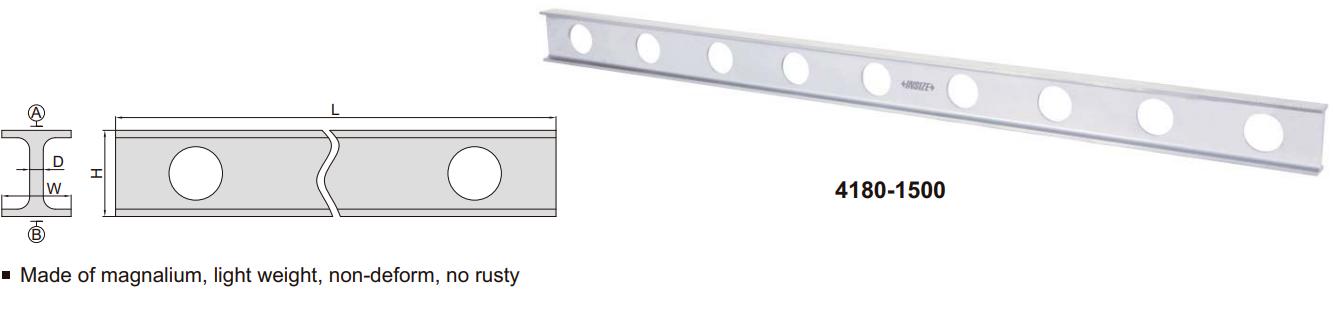 Thước đo độ thẳng bằng Magnalium Insize 4180