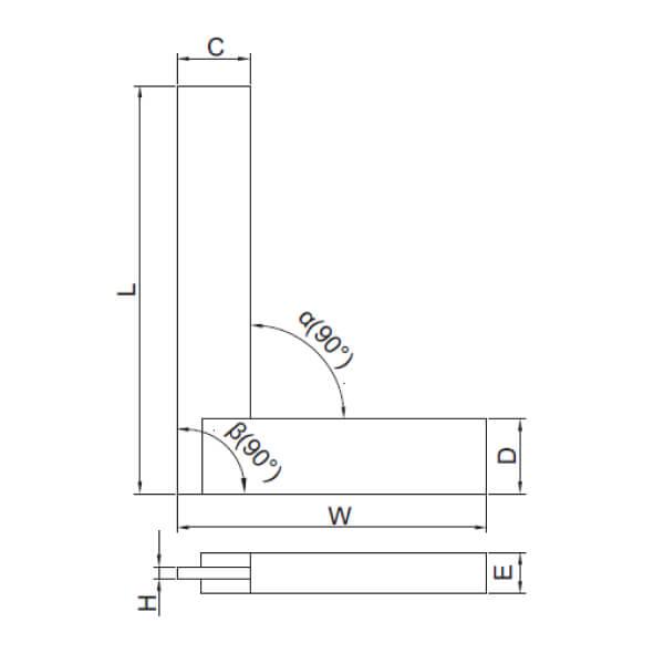 Thước đo góc vuông Insize 4705 (mép phẳng, đế rộng)