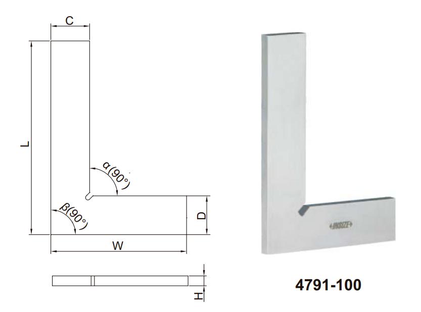 Thước đo góc vuông mỏng Insize 4791