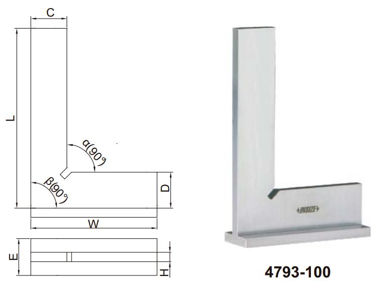 Thước đo góc vuông mỏng với đế rộng Insize 4792