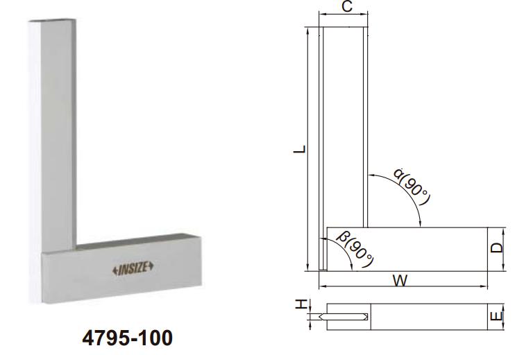 Thước đo góc vuông vát cạnh với đế rộng Insize 4795