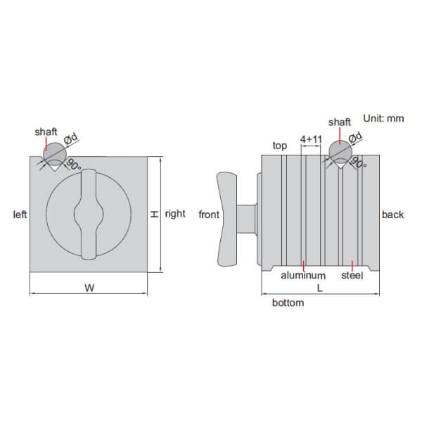 Khối V cảm ứng từ Insize 6539-100