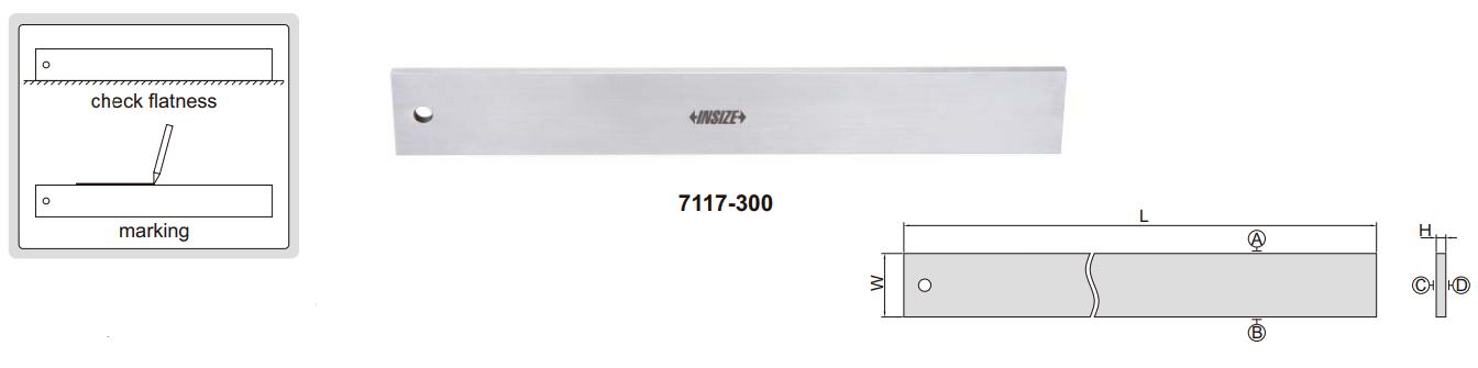 Thước đo độ thẳng vát cạnh chính xác Insize 7117