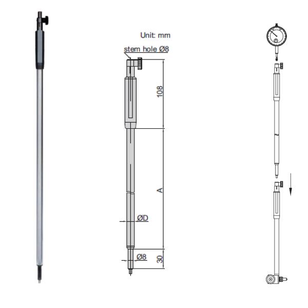 Tay cầm cho thước đo lỗ Insize 7352 loại dài