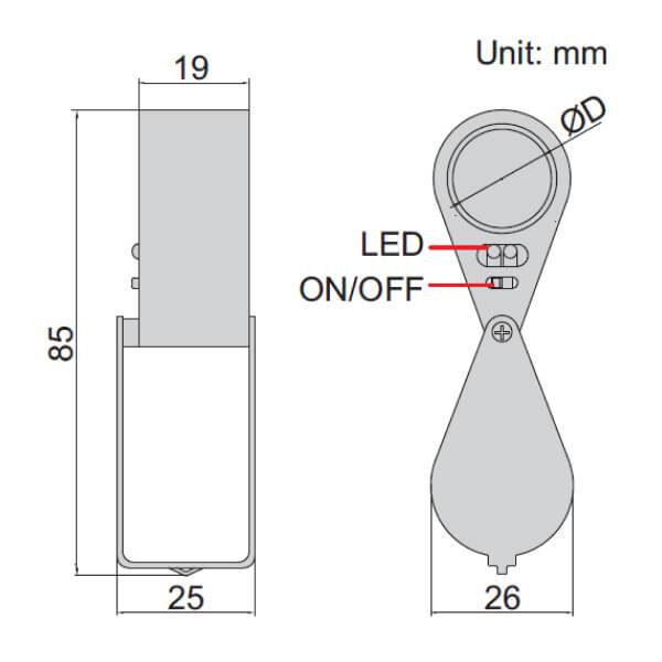 Kính lúp loại gấp có đèn chiếu Insize 7515-10