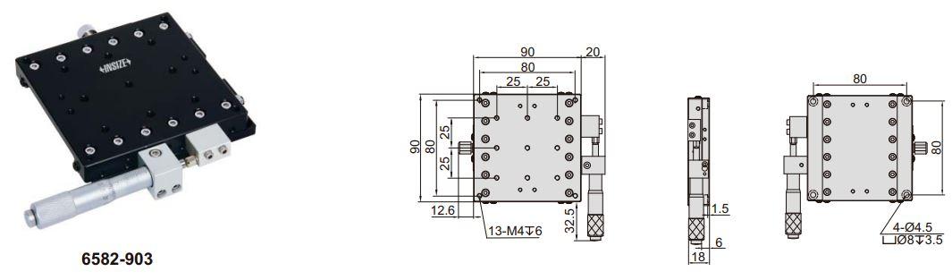 Đế chỉnh trục X Insize 6582