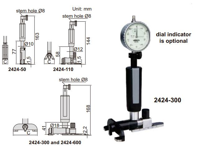 Dụng cụ đo lỗ kín Insize 2424
